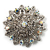 AB Crystal Dimensional Floral Corsage Brooch (Silver Tone)