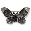 Gigantic Pave Swarovski Crystal Butterfly Brooch (Clear&Black)