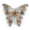 Dazzling Citrine Swarovski Crystal Butterfly Brooch (Silver Tone)