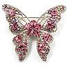 Dazzling Pink Swarovski Crystal Butterfly Brooch (Silver Tone)