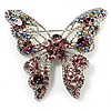Dazzling Lilac Crystal Butterfly Brooch (Silver Tone)
