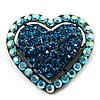 Bronze Tone Dazzling Diamante Heart Brooch (Sky Blue)