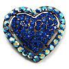 Bronze Tone Dazzling Diamante Heart Brooch (Navy Blue)