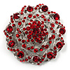 Dome Shaped Ruby Red Coloured Crystal Corsage Brooch (Silver Tone)