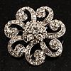 Charming Diamante Floral Brooch (Silver Tone)