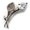 Exquisite CZ Floral Brooch (Silver Tone)