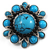 Vintage Turquoise Stone Floral Corsage Brooch (Burn Silver Tone)