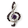 Silver Tone Crystal Music Treble Clef Brooch (Violet)