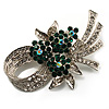 Stunning Bow Corsage Crystal Brooch (Clear&Emerald Green)