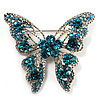 Dazzling Teal Coloured Swarovski Crystal Butterfly Brooch (Silver Tone)