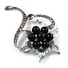 Floral Bead Crystal Brooch (Gun Metal)