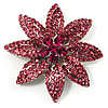 Pink Swarovski Crystal Bridal Corsage Brooch (Silver Tone)