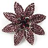 Light Purple Swarovski Crystal Bridal Corsage Brooch (Silver Tone)