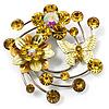 Fancy Butterfly And Flower Brooch (Lemon Yellow & Silver Tone)