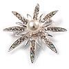 Bridal Crystal Simulated Pearl Star Brooch (Silver Tone)