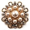Vintage Wedding Imitation Pearl Crystal Brooch (Burn Gold Tone)