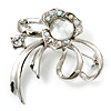 Silver Plated Delicate Diamante Floral Brooch