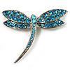 Classic Azure Swarovski Crystal Dragonfly Brooch (Silver Tone)