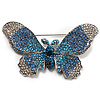 Gigantic Pave Swarovski Crystal Butterfly Brooch (Clear&Blue)