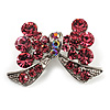 Small Pink Diamante Bow Brooch (Silver Tone)