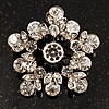 Swarovski Crystal Star Brooch (Clear & Black)