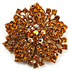 Victorian Corsage Flower Brooch (Gold & Amber Coloured)