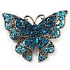 Azure Blue Crystal Filigree Butterfly Brooch (Silver Tone)