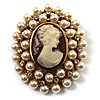 Simulated Pearl Crystal Cameo Brooch (Gold Tone)