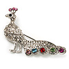Multicoloured Crystal Peacock Brooch (Silver Tone)