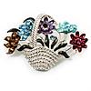 Fancy Enamel Multicoloured Flower Basket Brooch (Silver Tone)