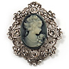 Heiress Filigree 'Cameo' Brooch (Antique Silver Finish)