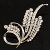 Silver Tone Twirl Diamante Leaf Brooch