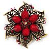 Vintage Filigree Crystal Brooch (Antique Gold & Red)