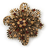 Vintage Asymmetrical Crystal Flower Brooch/ Pendant (Bronze Tone)