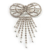 Enchanting Diamante Bow Charm Brooch (Silver Tone)