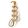 Gold Tone Crystal Polo Mallet Brooch