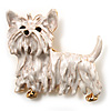White  Enamel Puppy Dog Brooch (Gold Tone)