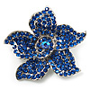 Small Sapphire Coloured Diamante Flower Brooch (Silver Tone)