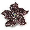Small Violet Diamante Flower Brooch (Silver Tone)