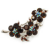 Crystal Floral Brooch (Silver Tone & Amber Coloured)