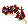 Swarovski Crystal Floral Brooch (Antique Gold & Ruby Red)