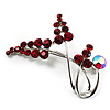 Burgundy Red Diamante Floral Brooch (Silver Tone)
