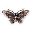 Purple Crystal Butterfly Brooch (Silver Tone)