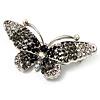 Black Crystal Butterfly Brooch (Silver Tone)