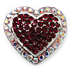 Silver Tone Dazzling Diamante Heart Brooch (Cherry & Iridescent Pink)