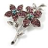 Lilac Swarovski Crystal Flower Brooch (Silver Tone)