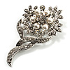 Bridal Snow White Faux Pearl Crystal Floral Brooch (Silver Tone)