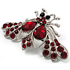 Burgundy Red Crystal Moth Brooch (Silver Tone)