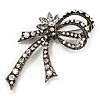 Burn Silver Diamante Bow Brooch