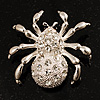 Diamante Spider Brooch (Silver Tone)